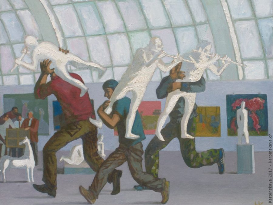 «At the exhibition» 2003, oil on canvas, 110x130.