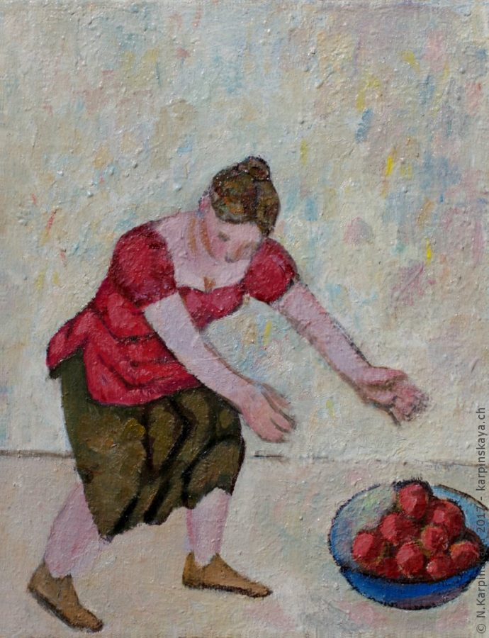 «Girl with apples» 2002, oil on canvas, 50x40.