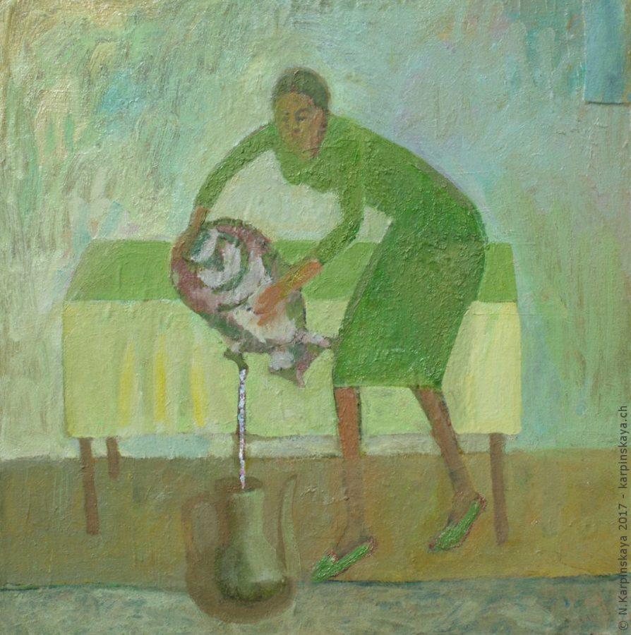 «Girl with samovar» 2000, oil on canvas, 60x60.