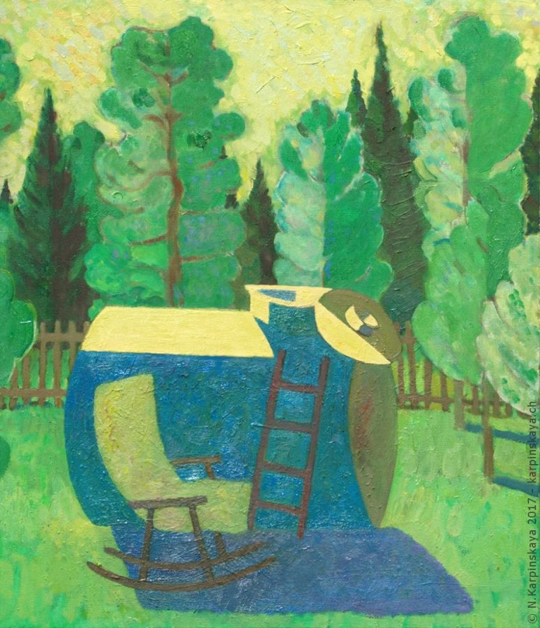 «Landscape with tank» 2007, oil on canvas, 70x60.