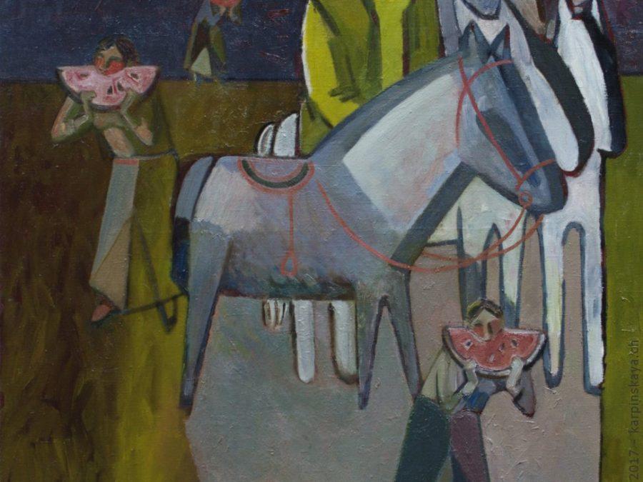 «Пейзаж с арбузом» 2005 г., х.м., 100х90.