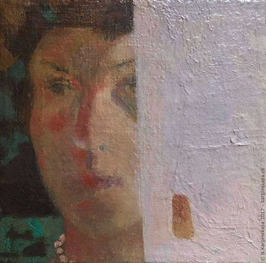 «Self-portrait» 2004, oil on canvas, 15x15.