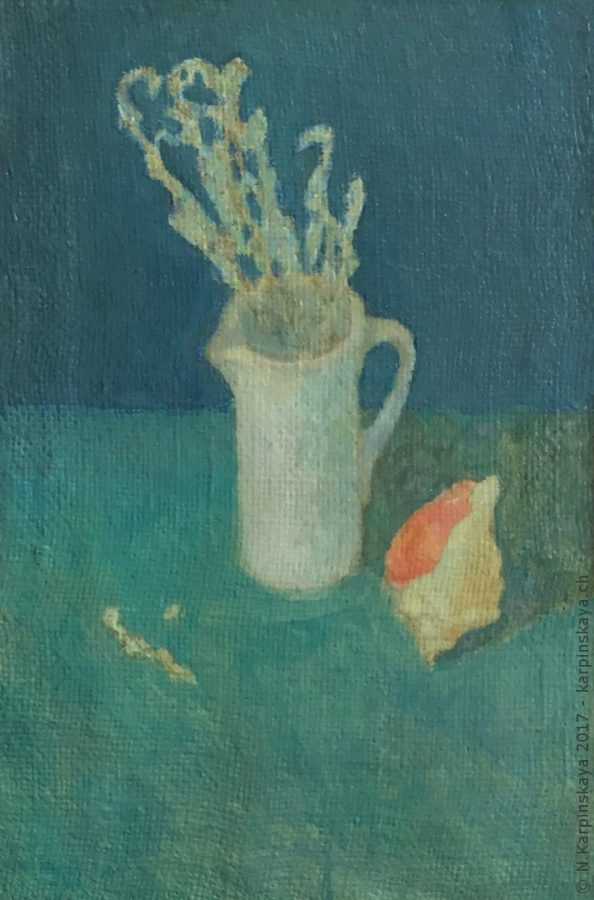 «Still life with seashell» 2001, oil on canvas, 47x32.
