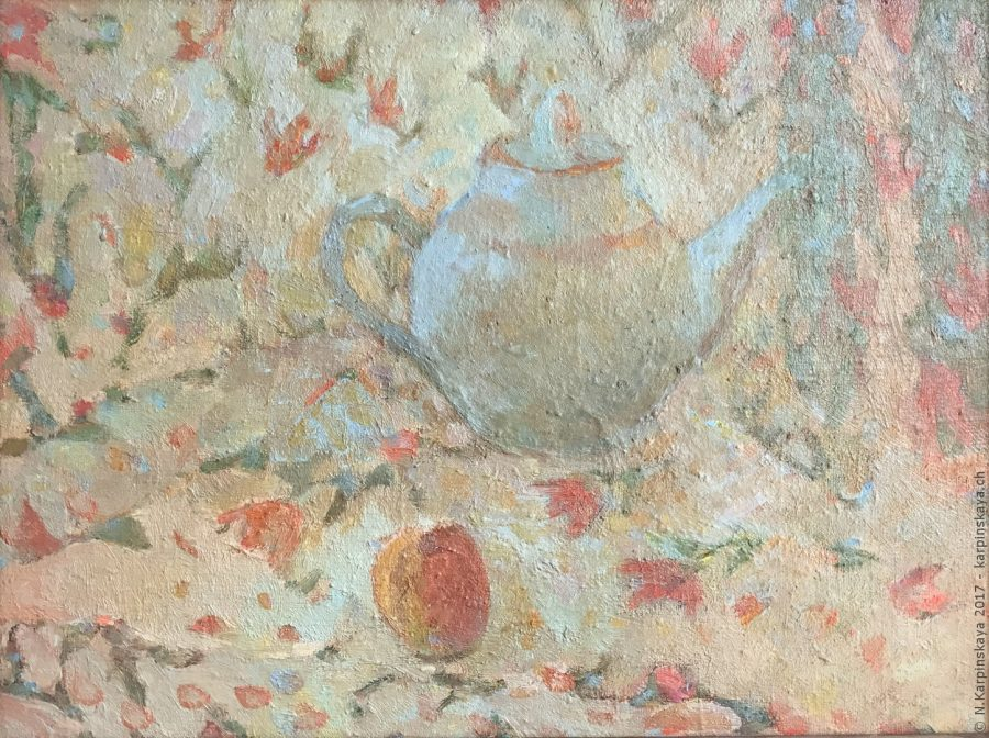 «Still life with teapot» 1999, oil on canvas, 30x40.