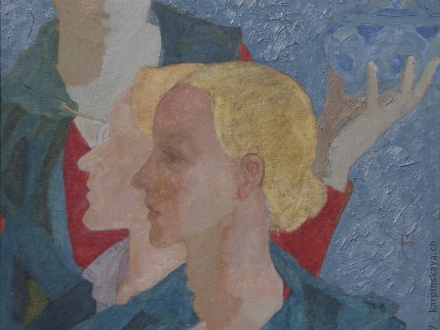 «Triple self-portrait» 2002, oil on canvas, 50x40.