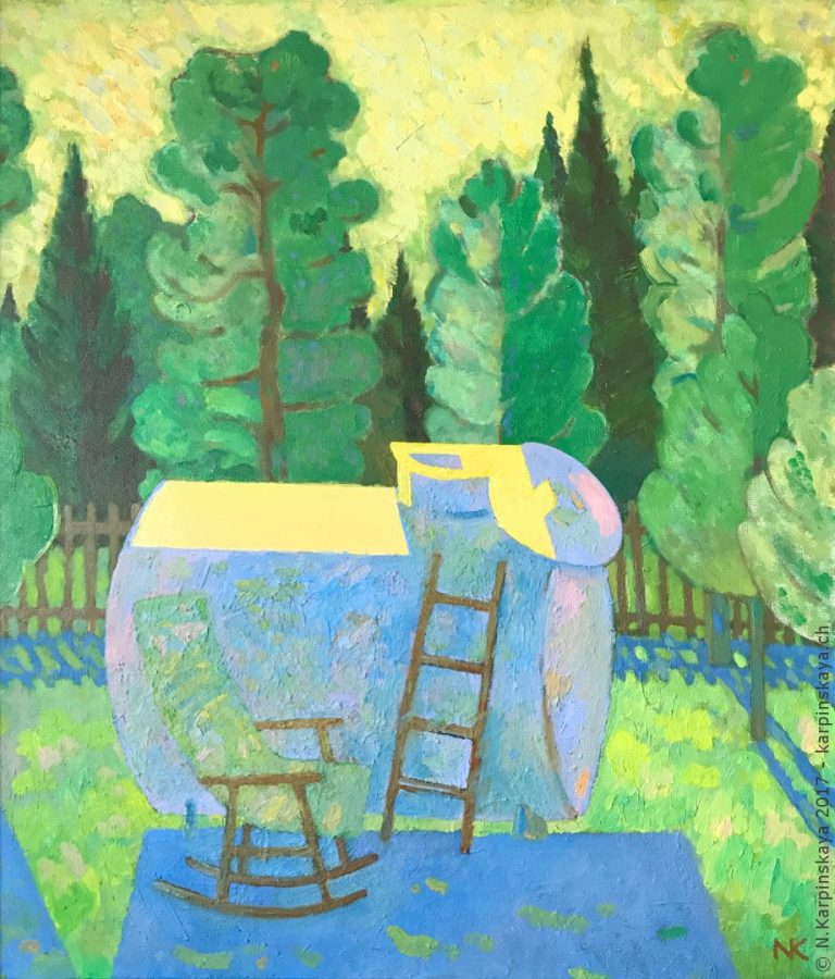«Landscape with tank» 2007-2015, oil on canvas, 70x60.
